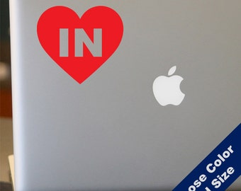 I Heart Indiana Decal - Love - for Laptop, Car, iPhone