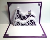 ROLLER COASTER 3D Pop Up Card. Greeting Card, Birthday, Vacation, Home Decoration Handmade Origamic Architecture in Purple and White.