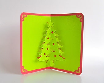 CHRISTMAS TREE 3D Pop Up Greeting Card Home Décor Handmade Origamic Architecture in   Shimmery Bright Neon Green and Red.