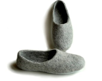 Handmade eco friendly felted slippers - wool - grey