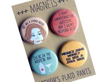 Arrested development, Lucille Bluth badges, pinback buttons, magnet set, Gangy badges