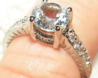 14kt (1.35ct) white sapphire Engagement RIng