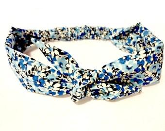 Tie Headband Blue Flower Floral Print Vintage Inspired Rockabilly Head Scarf