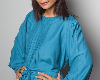 Maxi Dress With Long Sleeves -  Jade Blue Evening Dress : Joy of Spring Collection No.1