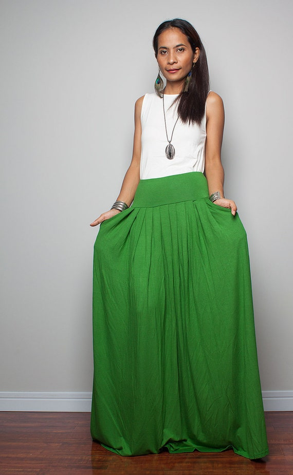 Floor length skirt / Maxi Skirt Long Soft Green Skirt :