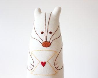 Badger Stuffed Toy Woodland Animal Plush Hand Embroidered.