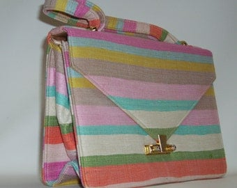 Vintage 60s LENNOX Bag striped fabric Petite Handbag Purse