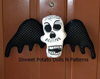 Handmade Gothic Flying Skull Door Hanger Wreath