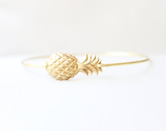 Brass Pineapple Bangle, Fruit Bracelet, Beach Bracelet, Tropical Jewelry, Summer Charm Bracelet, Stackable Bangle