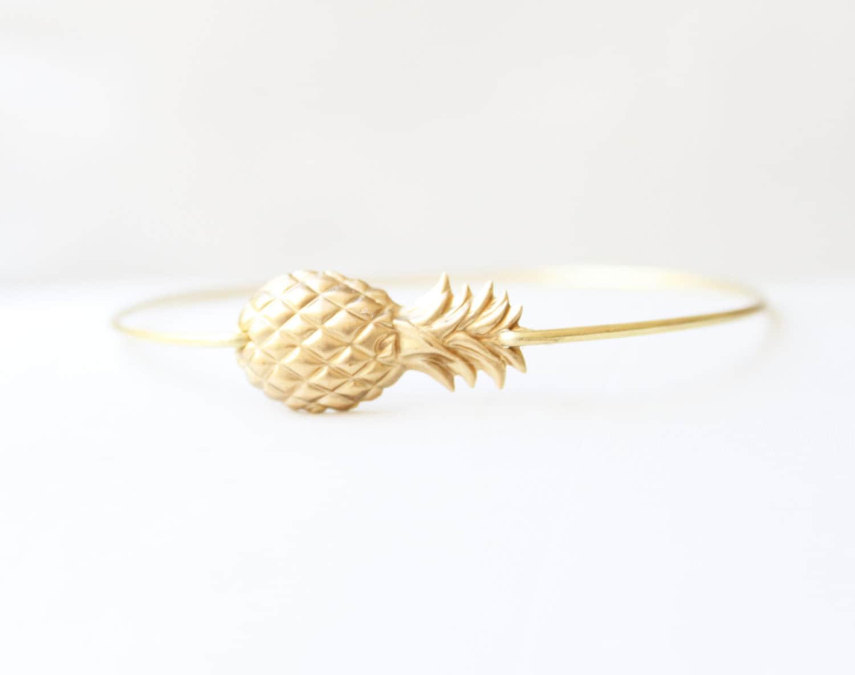 Brass Pineapple Bangle, Fruit Bracelet, Beach Bracelet, Tropical Jewelry, Summer Charm Bracelet, Stackable Bangle