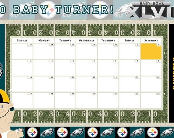 Customize baby calendar for baby sh ower pool game any theme digital