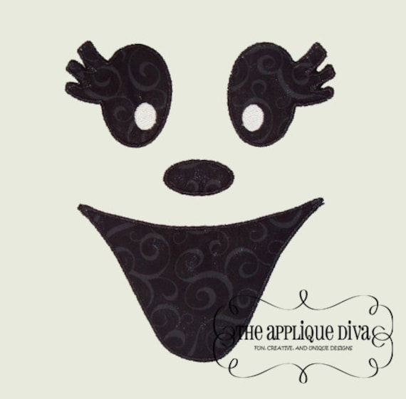 Halloween Girl Ghost Face Embroidery Design Machine Applique