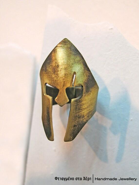 Leonidas helmet handmade ring, Ancient Greek Art, Limited edition Handmade Greek Jewerly, Spartan, 300 the ring, King Leonidas ring