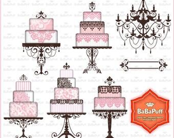 Digital Wedding Cake, Chandelier Silhouette Clip Art for Your Wedding Invitation Cards Making. BP 0872