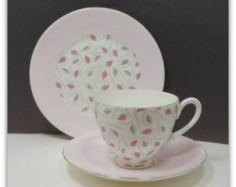 Sale 3 Pc Porcelain Tea Coffee Cup Luncheon Plate Trio Pink Gray Leaves Adderley England Vintage 1960s