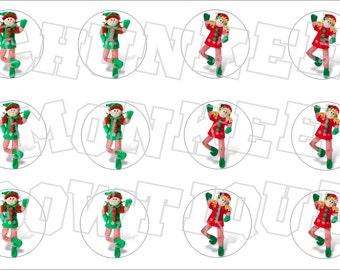 Cute Little Holiday Elves bottlecap image sheets