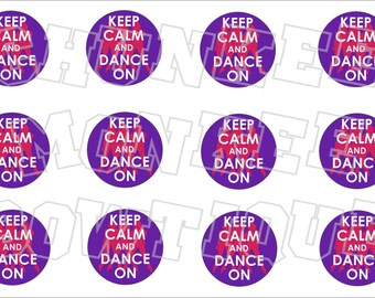 Keep Calm and Dance On bottlecap image sheet - purple