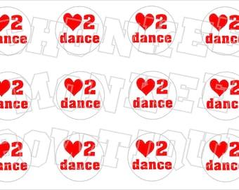 Love to Dance bottlecap image sheet - red