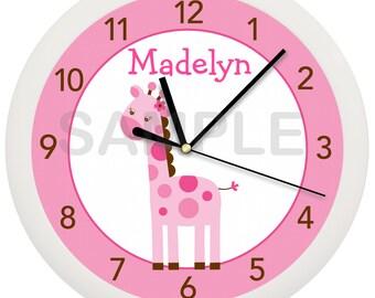 Personalized Custom Pink or Brown Giraffe Nursery Wall Clock