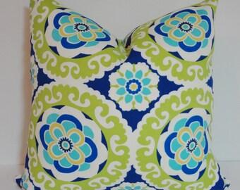 OUTDOOR Deck Patio Pillow Blue Green Medallion Outdoor Pillow Cover 18x18 16x16 20x20