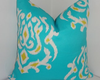 OUTDOOR Pillow Turquoise Blue Yellow Ikat Print Cushion Cover Porch Decorative Pillow 18x18