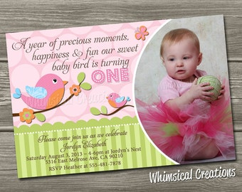 Baby Bird Birthday Invitation (Digital File) - Bird Birthday Invitation - I Design, You Print