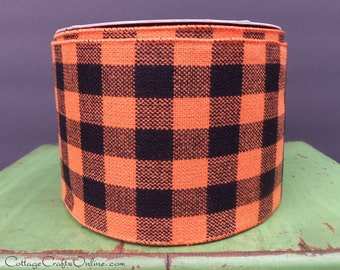 "CLEARANCE! Halloween Wired Ribbon, 4"" Black and Orange Check Buffalo Plaid - THREE & 1/2 YARDS - #70213 Wire Edged Ribbon"