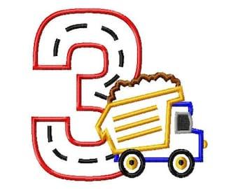Dump Truck - 3 - Applique - Machine Embroidery Design -  5 sizes