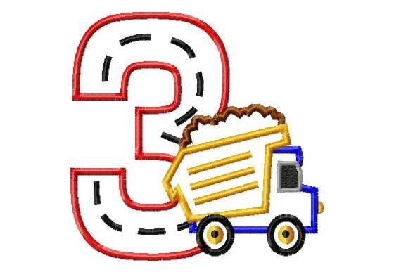 Dump truck applique machine embroidery design