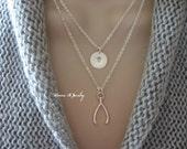 Personalized Double Strand Wishbone Necklace, Silver Wishbone Multi Strand Necklace, Make a Wish Lucky Pendant