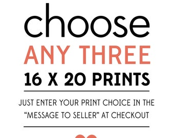 Special - Any 3 Prints of Your Choice to be  16 x 20 Inch