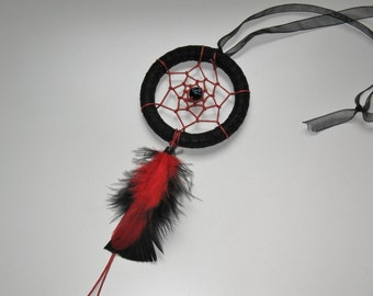 """3"""" black and red evil eye small dream catcher / car mirror"""