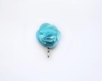 Bridesmaid and Flower Rose Hair Pin- Blue Satin Fabric