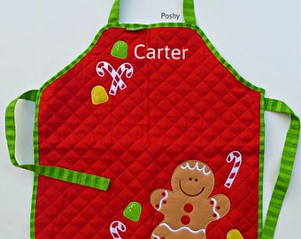 Personalizd Kids Christmas Holiday Apron in Gingerbread Man theme by Stephen Joseph Girls Boys