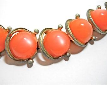 Vintage Necklace Thermoset Tangerine Orange Moon Glow 1950s