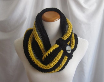 Cowl Button Chunky Bulky Crochet Cowl:  Black, Mustard Yellow & Gray with Floral Fabric Button