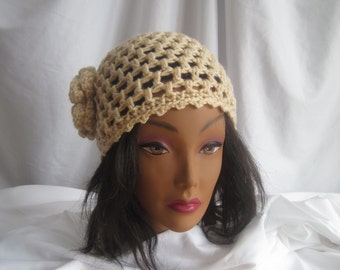 Hat Womans Vanilla Beige Crochet Hat with Flower Applique Embellishment Stylish, Chic, Trendy and Lacy Cap Handmade Fashion Accessory