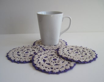 Purple Coasters - Set of 4 Crochet Doily Coasters