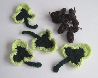 4 Crochet Ivy Leave Appliques - Dark Hunter & Pale Green - Set of 4