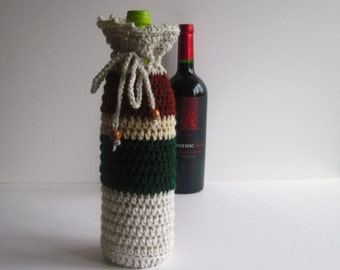 Crochet Wine Bottle Cover Cozy Gift Wrap - Green, Brown and Linen with Wood Beads