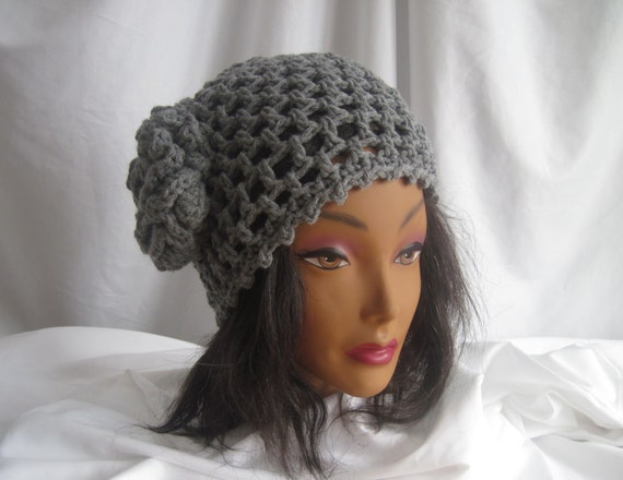 Hat Womans Gray Crochet Hat with Flower Applique Embellishment Stylish, Chic, Trendy and Lacy Cap Handmade Fashion Accessory