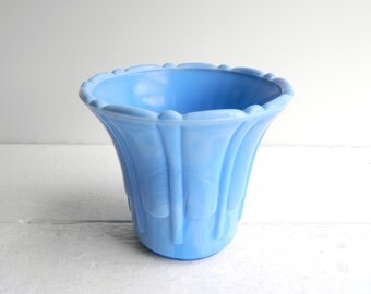 Vintage Akro Agated Fluted Vase Planter, Delphite Blue Flower Pot Slag Glass, 296