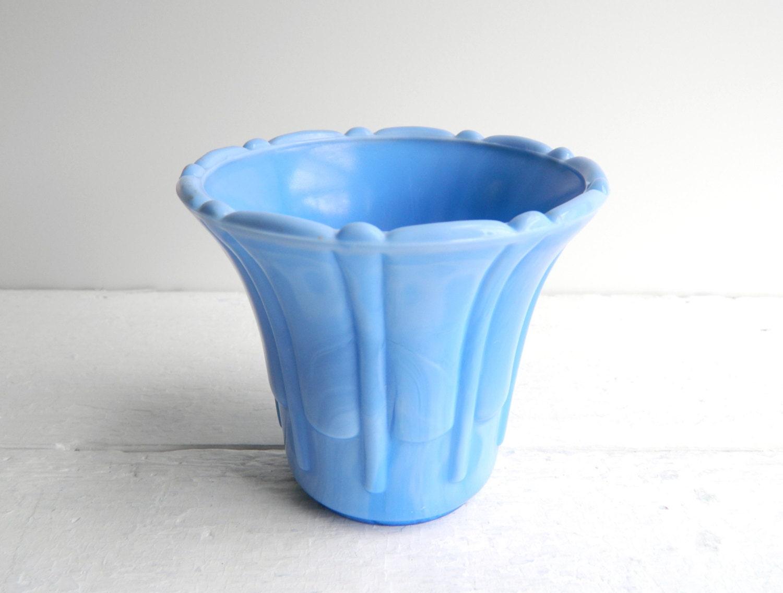Vintage Akro Agated Fluted Vase Planter Delphite Blue Flower