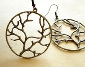 Round Tree Earring Antiqued Bronze DE-35