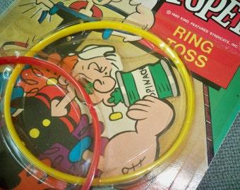 Vintage Popeye Ring Toss Game Toy in Original Packaging