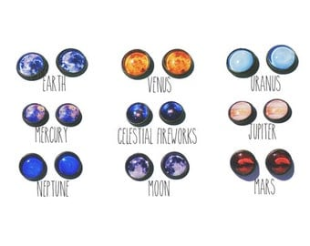 Space Exploration Earring Studs Planets Stars
