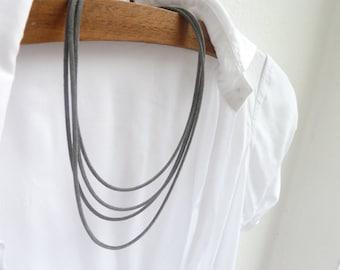 SALE 15% OFF - Multistrand necklace, Grey velvet necklace, Grey layer necklace, Charcoal grey necklace, Concrete grey necklace, Industrial