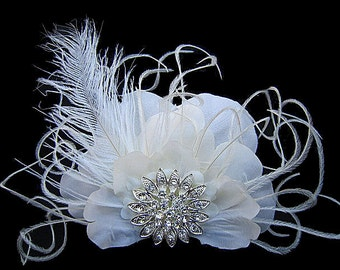 Bridget - Bridal Ivory Silk Flower Hair Clip Fascinator with Large Rhinestone Ostrich Feathers