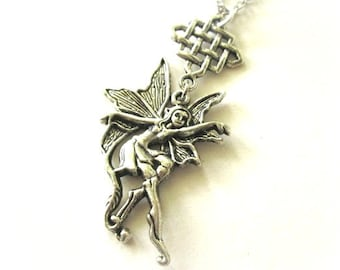 Fairy necklace celtic knot jewelry medieval mystical necklace antiqued silver fantasy necklace