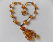 Vintage Amber Silver Necklace Very Pretty SALE